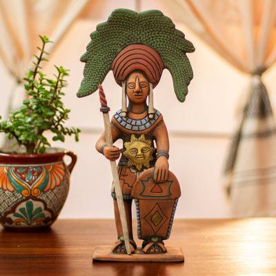 Ceramic sculpture, 'Maya Sun Warrior' - Original Signed Ceramic Sculpture of a Maya Sun Warrior