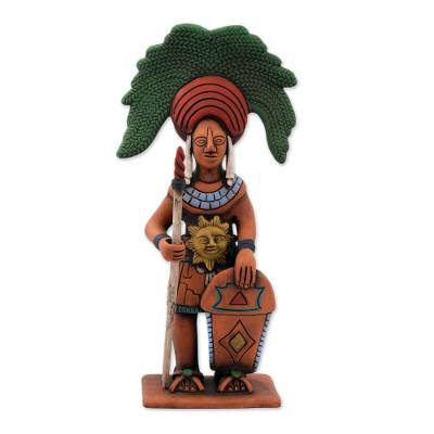 Ceramic sculpture, 'Maya Sun Warrior' - Original Signed Ceramic Sculpture of a Maya Sun Warrior