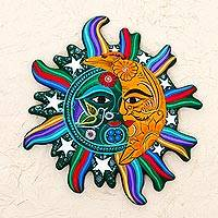 Ceramic wall adornment, 'Starlit Eclipse' - Green Saffron Eclipse Wall Adornment Sculpture Stars Birds