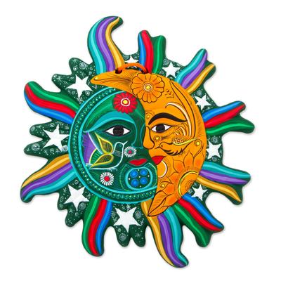 Ceramic wall adornment, 'Starlit Eclipse' - Green Saffron Eclipse Wall Adornment Sculpture Stars Birds