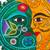Ceramic wall adornment, 'Starlit Eclipse' - Green Saffron Eclipse Wall Adornment Sculpture Stars Birds (image 2d) thumbail