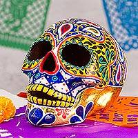 Ceramic sculpture, 'Carnival Skull' - Hand Painted 12k Gold Ceramic Skull Sculpture from Mexico