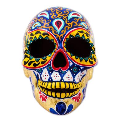 Ceramic sculpture, 'Carnival Skull' - Hand Painted 12k Gold Ceramic Skull Sculpture from Mexico