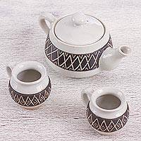 Ceramic teapot and cups, 'Fiesta in Mascota' (set for two) - Handcrafted Mexican Geometric Motif Ceramic Tea Set for Two