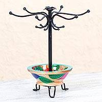 Wood jewelry display stand, 'Bright Leaves' - Hand Crafted Floral Jewelry Display Stand in Guamuche Wood