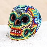 Glass beaded ceramic sculpture, 'Huichol Eagle Skull' - Glass Beaded Huichol Eagle Skull Sculpture from Mexico