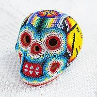 Glass beaded ceramic sculpture, 'Huichol Sun Skull' - Glass Beaded Huichol Sun Skull Sculpture from Mexico