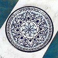 Ceramic dinner plates, 'Village Flower' (pair) - Ceramic Floral Dinner Plates (Pair) from Mexico