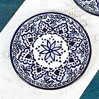 Ceramic luncheon plates, 'Village Flower' (pair) - Hand Made Ceramic Luncheon Plates (Pair) from Mexico