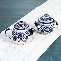 Ceramic sugar bowl and creamer, 'Village Flower' (pair) - Hand Made Ceramic Sugar Bowl and Creamer (Pair) from Mexico