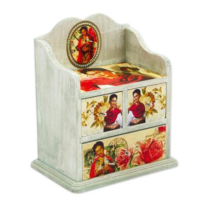 Decoupage wood jewelry chest, 'Frida Rose' - Pinewood Decoupage Frida Kahlo Jewelry Chest from Mexico