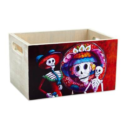 Decoupage wood decorative crate, 'Catrina Duo' - Multicolored Decoupage Pinewood Catchall from Mexico