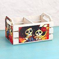 Decoupage wood crate, 'Catrina y Ranchero' - Decoupage Pinewood Decorative Box with Skeleton Couple