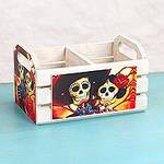 Decoupage Pinewood Decorative Box with Skeleton Couple, 'Catrina y Ranchero'