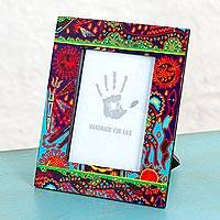Decoupage wood photo frame, 'Majestic Huichol' (4x6) - 4x6 Decoupage on Pinewood Photo Frame with Huichol Motifs