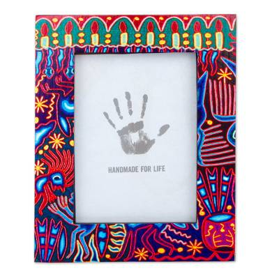 Decoupage wood photo frame, 'Elegant Huichol' (5x7) - 5x7 Multicolored Huichol Decoupage on Pinewood Photo Frame