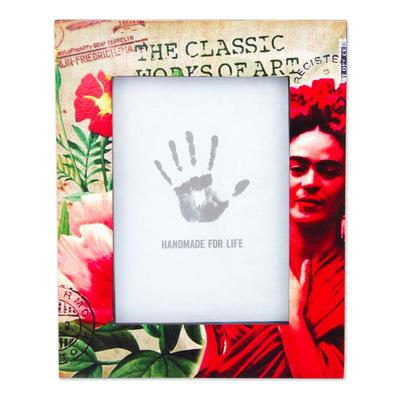 Decoupage wood photo frame, 'Passionate Frida' (5x7) - 5x7 Decoupage on Pinewood Mexican Frida Kahlo Photo Frame