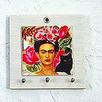 Decoupage wood key rack, 'Frida with Cat' - Square Decoupage Pinewood Frida Kahlo Key Rack from Mexico