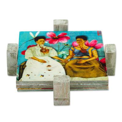 Decoupage wood coasters, 'Life of Frida' (set of 4) - Four Square Mexican Decoupage Pinewood Frida Kahlo Coasters