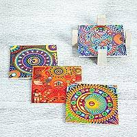 Decoupage wood coasters, 'Huichol Sun and Moon' (set of 4) - Four Decoupage Pinewood Mexican Sun and Moon Motif Coasters
