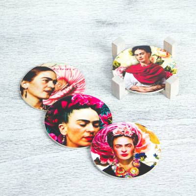 Decoupage wood coasters, 'Frida's Gaze' (set of 4) - Four Round Decoupage Pinewood Mexican Frida Kahlo Coasters