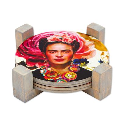 Decoupage wood coasters, 'Frida's Gaze' (set of 4) - Four Round Decoupage Pinewood Mexican Frida Kahlo Coasters