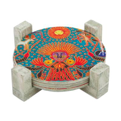 Decoupage wood coasters, 'Round Huichol' (set of 4) - Four Round Multicolored Mexican Pinewood Decoupage Coasters