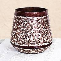 Copper and sterling silver decorative vase, 'Copper Ropes' - Handcrafted Copper and Sterling Silver Vase from Mexico