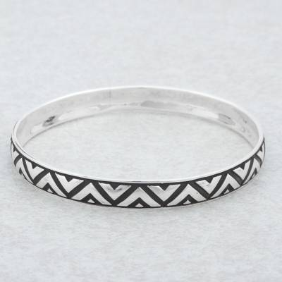 Sterling silver bangle bracelet, 'Mexican Geometry' - Sterling Silver Triangle Motif Bangle Bracelet from Mexico