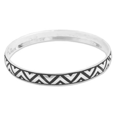 Sterling Silver Triangle Motif Bangle Bracelet from Mexico
