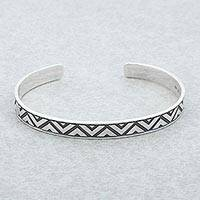 Sterling silver cuff bracelet, 'Mexican Geometry' - Sterling Silver Triangle Motif Cuff Bracelet from Mexico