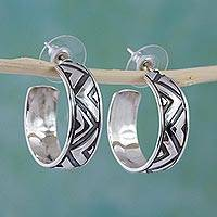 Sterling silver half-hoop earrings, 'Mexican Geometry' - Sterling Silver Triangle Motif Mexican Half-Hoop Earrings