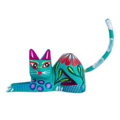 Copal Wood Alebrije Cat Sculpture in Teal from Mexico
