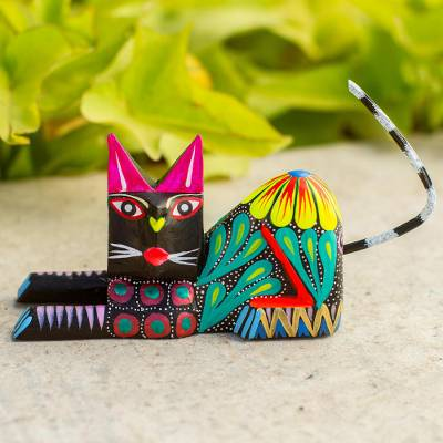Wood sculpture, 'Excited Cat in Black' - Copal Wood and Maguey Cat Sculpture in Black from Mexico
