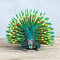 Wood sculpture, 'Cute Porcupine in Green'