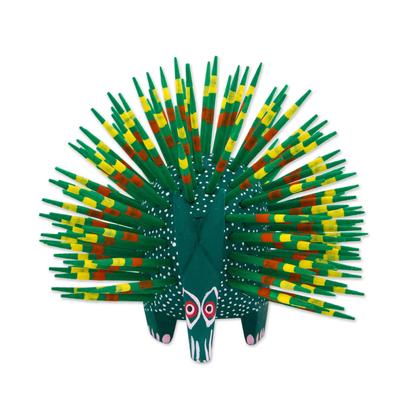 Wood sculpture, 'Cute Porcupine in Green' - Copal Wood and Maguey Mexican Porcupine Sculpture in Green