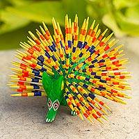 Copal wood alebrije, 'Cute Porcupine' - Yellow and Green Copal Wood Alebrije Porcupine Sculpture