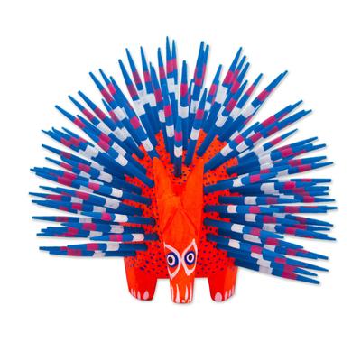 Copal wood alebrije, 'Cute Porcupine in Red' - Copal Wood Alebrije Porcupine Sculpture in Red and Blue