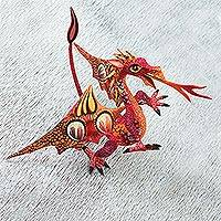 Copal wood alebrije, 'Mexican Dragon in Red' - Copal Wood Dragon Alebrije Sculpture in Red and Orange