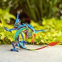 Copal wood alebrije, 'Mexican Dragon in Blue' - Copal Wood Dragon Alebrije Sculpture in Blue from Mexico