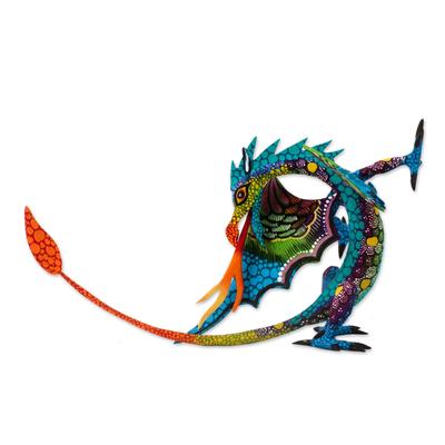 Copal wood alebrije, 'Mexican Dragon in Blue' - Copal Wood Dragon Alebrije Sculpture in Blue from Mexico