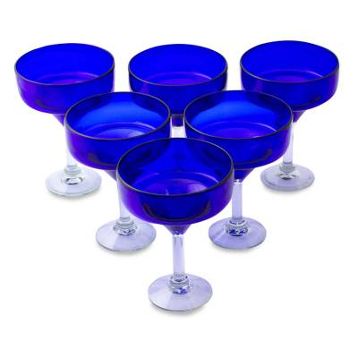 Blown glass margarita glasses, 'Ever Blue' (set of 6) - Six Eco Friendly Hand Blown Deep Blue Margarita Glasses