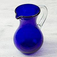 Blown glass pitcher, 'Ever Blue' - Eco Friendly Deep Blue Hand Blown Glass Pitcher