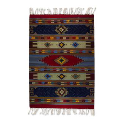 Wool area rug, 'Oaxacan Happiness' (6.5x10) - 7x10 Wool Area Rug with Multicolored Geometric Motifs