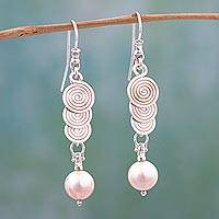 Cultured pearl dangle earrings, 'Taxco Waterfall' - Taxco Silver Mexican Cultured Pearl Spiral Dangle Earrings