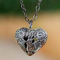 Sterling silver pendant necklace, 'Tuxtepec Hummingbird' - Sterling Silver Heart Shaped Mexican Hummingbird Necklace