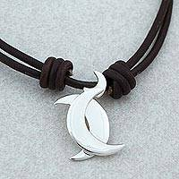 Sterling silver pendant necklace, 'Gemini Moon' - Taxco Sterling Silver Gemini Pendant Necklace from Mexico
