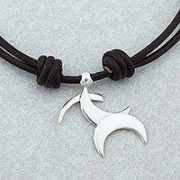 Sterling silver pendant necklace, 'Sagittarius Moon' - Taxco Sterling Silver Sagittarius Mexican Pendant Necklace