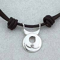 Sterling silver pendant necklace, 'Aquarius Moon' - Taxco Sterling Silver Aquarius Pendant Necklace from Mexico