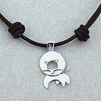 Sterling silver pendant necklace, 'Leo Moon' - Taxco Sterling Silver Leo Pendant Necklace from Mexico